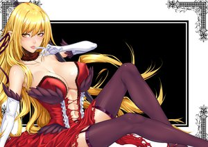 Rating: Questionable Score: 270 Tags: blonde_hair cleavage dress elbow_gloves kissshot_acerolaorion_heartunderblade monogatari_(series) nisemonogatari oshino_shinobu thighhighs zucchini User: opai