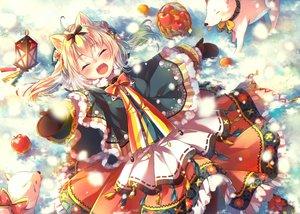 Rating: Safe Score: 61 Tags: animal_ears apple blonde_hair bow food fruit jpeg_artifacts nemuri_nemu original snow winter User: RyuZU