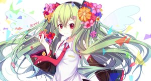 Rating: Safe Score: 77 Tags: flowers gejigejier green_hair hatsune_miku long_hair red_eyes signed twintails vocaloid User: luckyluna