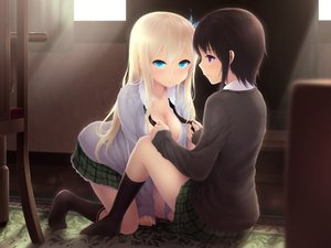 Rating: Questionable Score: 166 Tags: black_hair blonde_hair blue_eyes boku_wa_tomodachi_ga_sukunai cait cleavage kashiwazaki_sena mikazuki_yozora purple_eyes tagme User: opai
