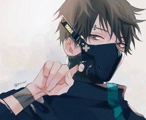 Rating: Safe Score: 20 Tags: all_male black_hair close gray_eyes male mask original shijima_tohiro short_hair signed wristwear User: mattiasc02