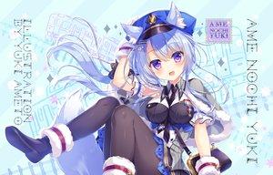 Rating: Safe Score: 72 Tags: ameto_yuki animal_ears blue_hair cape foxgirl hat long_hair original pantyhose purple_eyes uniform watermark User: 蕾咪