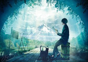 Rating: Safe Score: 25 Tags: all_male animal cat fusui male original polychromatic scenic signed User: FormX