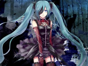 Rating: Safe Score: 100 Tags: aqua_hair blue_eyes chain dark elbow_gloves flowers hatsune_miku hitoha rose skirt thighhighs twintails vocaloid User: MissBMoon
