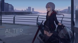 Rating: Safe Score: 89 Tags: building city fate/grand_order fate_(series) gloves gray_hair hoodie long_hair motorcycle necklace nian orange_eyes ponytail saber saber_alter scenic shorts sky sword thighhighs weapon zettai_ryouiki User: RyuZU