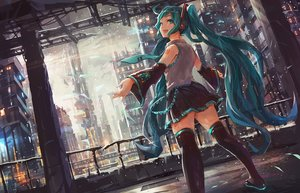 Rating: Safe Score: 42 Tags: akamidoriao_(rgb) blue_eyes blue_hair boots building city hatsune_miku headphones long_hair scenic skirt snow tattoo tie twintails vocaloid zettai_ryouiki User: RyuZU