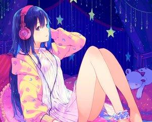 Rating: Safe Score: 81 Tags: blue_eyes blue_hair cropped dress headphones hoodie long_hair maeya_susumu original summer_dress waifu2x User: mattiasc02