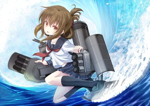 Rating: Safe Score: 47 Tags: anthropomorphism brown_eyes brown_hair inazuma_(kancolle) kantai_collection kneehighs navel school_uniform short_hair skirt water weapon yatsu_seisakusho User: otaku_emmy