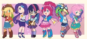 Rating: Safe Score: 26 Tags: animal_ears anthropomorphism apple_jack aqua_eyes black_hair blonde_hair blue_eyes book boots bow chibi cowgirl dark_skin dress fluttershy glasses goggles green_eyes group hat headband kneehighs long_hair miyata_(lhr) my_little_pony my_little_pony:_friendship_is_magic necklace pink_hair pinkie_pie ponytail purple_eyes purple_hair rainbow_dash rarity red_eyes red_hair school_uniform shirt shorts skirt summer_dress twilight_sparkle wristwear User: otaku_emmy