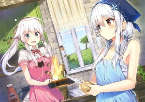 Rating: Safe Score: 97 Tags: 2girls anceril_sacred apron bicolored_eyes blush ciel_sacred fire food green_eyes long_hair mishima_kurone original ribbons scan twintails white_hair User: RyuZU