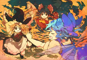 Rating: Safe Score: 8 Tags: black_hair blonde_hair blue_hair brown_eyes cirno dress group hakurei_reimu hat japanese_clothes kirisame_marisa long_hair miko red_eyes ribbons short_hair sky touhou wings User: w7382001