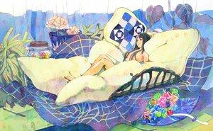 Rating: Safe Score: 69 Tags: bed black_eyes black_hair flowers leaves nude original umishima_senbon User: FormX