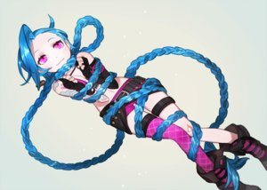 Rating: Safe Score: 176 Tags: bandaid blue_hair bondage boots braids gloves gwayo jinx_(league_of_legends) league_of_legends long_hair necklace pink_eyes tattoo User: FormX