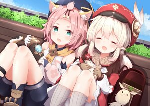 Rating: Safe Score: 84 Tags: aliasing animal_ears blonde_hair boots catgirl cat_smile clouds diona_(genshin_impact) feathers genshin_impact gloves green_eyes hat klee_(genshin_impact) kneehighs loli pink_hair pointed_ears short_hair shorts sky tail tutsucha_illust twintails User: DreamingCats