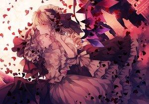Rating: Safe Score: 24 Tags: 2girls blonde_hair blood flandre_scarlet hat petals polychromatic purple_hair remilia_scarlet short_hair touhou vampire wings wiriam07 yuri User: mattiasc02