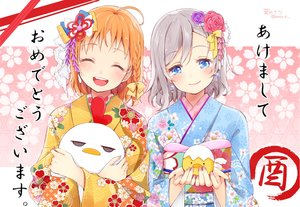 Rating: Safe Score: 61 Tags: 2girls animal aqua_eyes blush bow braids flowers gray_hair hazuki_natsu japanese_clothes kimono love_live!_school_idol_project love_live!_sunshine!! orange_hair short_hair takami_chika watanabe_you User: RyuZU