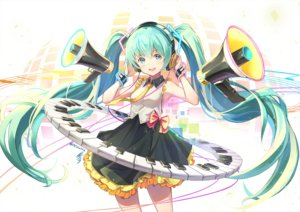 Rating: Safe Score: 62 Tags: bow green_eyes green_hair hatsune_miku headphones hon_(neo2462) instrument long_hair piano signed skirt twintails vocaloid wristwear User: Dreista