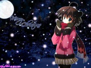 Rating: Safe Score: 25 Tags: blue_eyes brown_hair christmas forest gloves moon scarf short_hair sky snow stars tree winter User: Oyashiro-sama