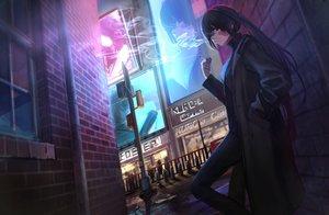 Rating: Safe Score: 67 Tags: black_hair building cigarette city hashimoto_kokai kuro:a_channel kuroa_(kuro:a_channel) long_hair night ponytail purple_eyes scar smoking suit User: Dreista