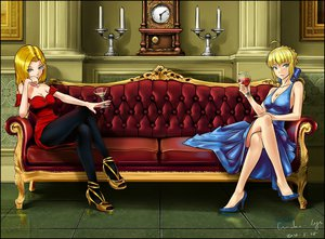 Rating: Safe Score: 135 Tags: 2girls android_18 blonde_hair blue_eyes cleavage crossover dragonball dress drink fate/stay_night green_eyes make_days pantyhose saber short_hair User: FormX