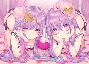 Rating: Safe Score: 83 Tags: bow drink glasses long_hair panties patchouli_knowledge pokachu purple_eyes purple_hair ribbons touhou underwear User: BattlequeenYume