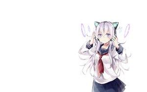 Rating: Safe Score: 113 Tags: headphones hibiki_(kancolle) kantai_collection long_hair purple_eyes seifuku shijima_(sjmr02) white white_hair User: Tensa