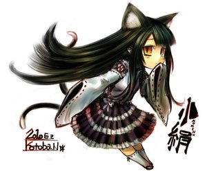 Rating: Safe Score: 57 Tags: animal_ears black_hair catgirl chibi japanese_clothes kotoba_noriaki long_hair miko original signed tail User: Katsumi
