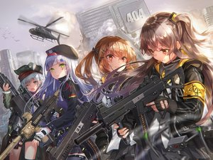 Rating: Safe Score: 47 Tags: aircraft anthropomorphism blonde_hair brown_hair building cat_smile city g11_(girls_frontline) girls_frontline gloves green_eyes group gun hat hk416_(girls_frontline) long_hair orange_eyes sakura_honoka scar twintails ump-45_(girls_frontline) ump-9_(girls_frontline) weapon white_hair User: BattlequeenYume