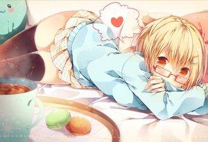Rating: Safe Score: 242 Tags: bed blonde_hair cat_smile drink food glasses komeshiro_kasu orange_eyes original school_uniform short_hair skirt thighhighs zettai_ryouiki User: opai