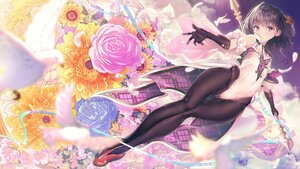Rating: Safe Score: 102 Tags: aliasing animal bird elbow_gloves feathers flowers gloves leotard original pantyhose purple_eyes ribbons rose tonchan User: BattlequeenYume