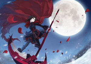 Rating: Safe Score: 142 Tags: boots brown_hair cape gray_eyes mizukai moon night petals ruby_rose rwby scythe sky snow weapon User: STORM
