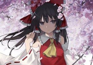 Rating: Safe Score: 65 Tags: black_hair brown_eyes cherry_blossoms hakurei_reimu japanese_clothes long_hair miko petals thkani touhou User: RyuZU