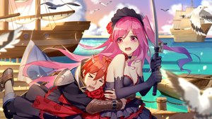Rating: Safe Score: 40 Tags: animal bird blush boat breasts choker cleavage daye_bie_qia_lian dress elbow_gloves gloves hug male orange_hair pink_eyes pink_hair red_hair romantic_saga_of_beauty_&_devil sky tagme_(character) water User: SciFi