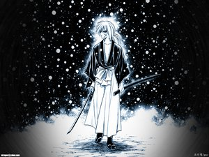 Rating: Safe Score: 12 Tags: all_male himura_kenshin japanese_clothes male rurouni_kenshin scar snow sword weapon winter User: Oyashiro-sama
