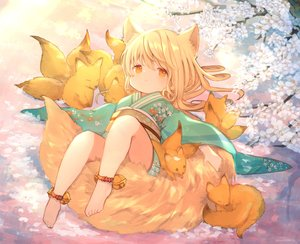 Rating: Safe Score: 77 Tags: animal animal_ears bell blonde_hair cherry_blossoms flowers fox foxgirl japanese_clothes kimono loli long_hair orange_eyes original tail umika35 User: otaku_emmy