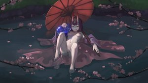 Rating: Explicit Score: 24 Tags: barefoot cherry_blossoms dark fate/grand_order fate_(series) nude paintrfiend purple_eyes purple_hair shuten_douji_(fate) umbrella User: Starwind