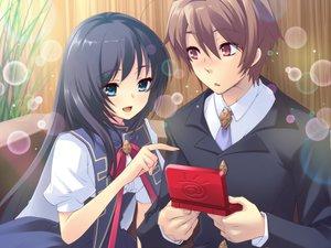 Rating: Safe Score: 24 Tags: blush bubbles flyable_heart game_cg itou_noiji katsuragi_syo school_uniform shirasagi_mayuri User: 秀悟