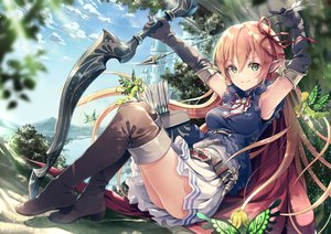 Rating: Safe Score: 168 Tags: arisa_(shadowverse) blush bow_(weapon) building clouds elbow_gloves fairy flowers garter_belt gloves green_eyes pink_hair pointed_ears shadowverse sky weapon wings yoshino_ryou User: BattlequeenYume