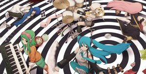 Rating: Safe Score: 46 Tags: drums guitar gumi hatsune_miku instrument kagamine_rin kaito megurine_luka music piano vocaloid yajirushi_(chanoma) User: opai