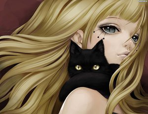 Rating: Safe Score: 145 Tags: animal blonde_hair cat close gayu_fuyu-shō gray_eyes watermark User: anime_love_angel