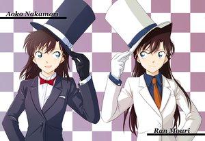 Rating: Safe Score: 25 Tags: blue_eyes bow brown_hair detective_conan gloves hat long_hair magic_kaito mouri_ran nakamori_aoko suit tie User: Tensa