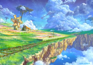 Rating: Safe Score: 106 Tags: clouds grass kaitan landscape original scenic sky train water watermark windmill User: RyuZU