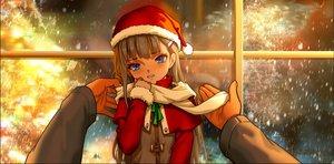 Rating: Safe Score: 91 Tags: aqua_eyes as109 blush brown_hair christmas hat loli long_hair original santa_hat scarf snow User: gnarf1975