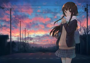Rating: Safe Score: 32 Tags: bow brown_eyes brown_hair building clouds long_hair original scarf scenic seifuku skirt sky sunset tagme_(artist) tree User: BattlequeenYume