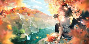 Rating: Safe Score: 46 Tags: autumn black_hair camera clouds leaves orange_eyes rokusai shameimaru_aya short_hair sky touhou water waterfall wings User: RyuZU