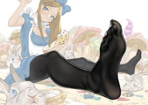 Rating: Safe Score: 56 Tags: alice_in_wonderland alice_(wonderland) animal apron aqua_eyes blonde_hair bow breasts cake cleavage dress food long_hair original pantyhose rabbit yomu_(sgt_epper) User: otaku_emmy