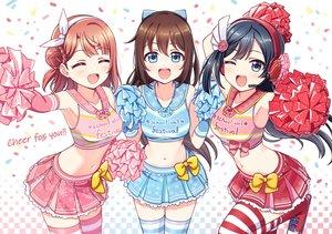 Rating: Safe Score: 50 Tags: black_hair blue_eyes blush bow braids brown_hair cheerleader deadnooodles headband headphones long_hair love_live!_nijigasaki_high_school_idol_club love_live!_school_idol_project microphone nakagawa_nana ousaka_shizuku skirt thighhighs uehara_ayumu wink zettai_ryouiki User: BattlequeenYume