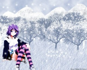 Rating: Safe Score: 60 Tags: photoshop purple_hair rosario+vampire shirayuki_mizore snow thighhighs User: Xtea