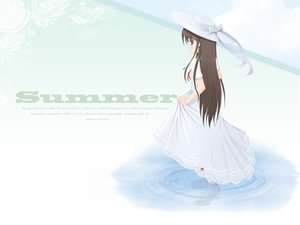 Rating: Safe Score: 15 Tags: bow brown_hair dress hat long_hair necklace nerv110 original ribbons water User: RyuZU
