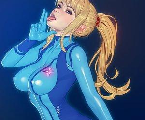 Rating: Safe Score: 65 Tags: blonde_hair blue_eyes bodysuit breasts cropped gradient long_hair metroid nikita_varb ponytail realistic samus_aran skintight User: otaku_emmy
